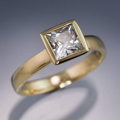 White Sapphire Engagement Ring Princess Cut Bezel Solitaire