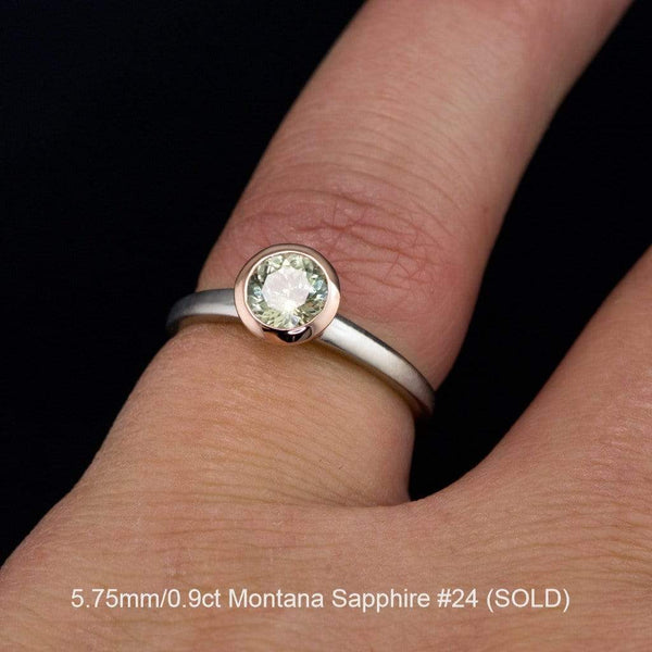 Mixed Metal Fair Trade Cream to Pastel Green Montana Sapphire Engagement Ring - by Nodeform