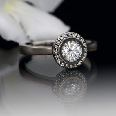 Round Bezel Set Moissanite & Diamond Halo Cathedral Engagement Ring