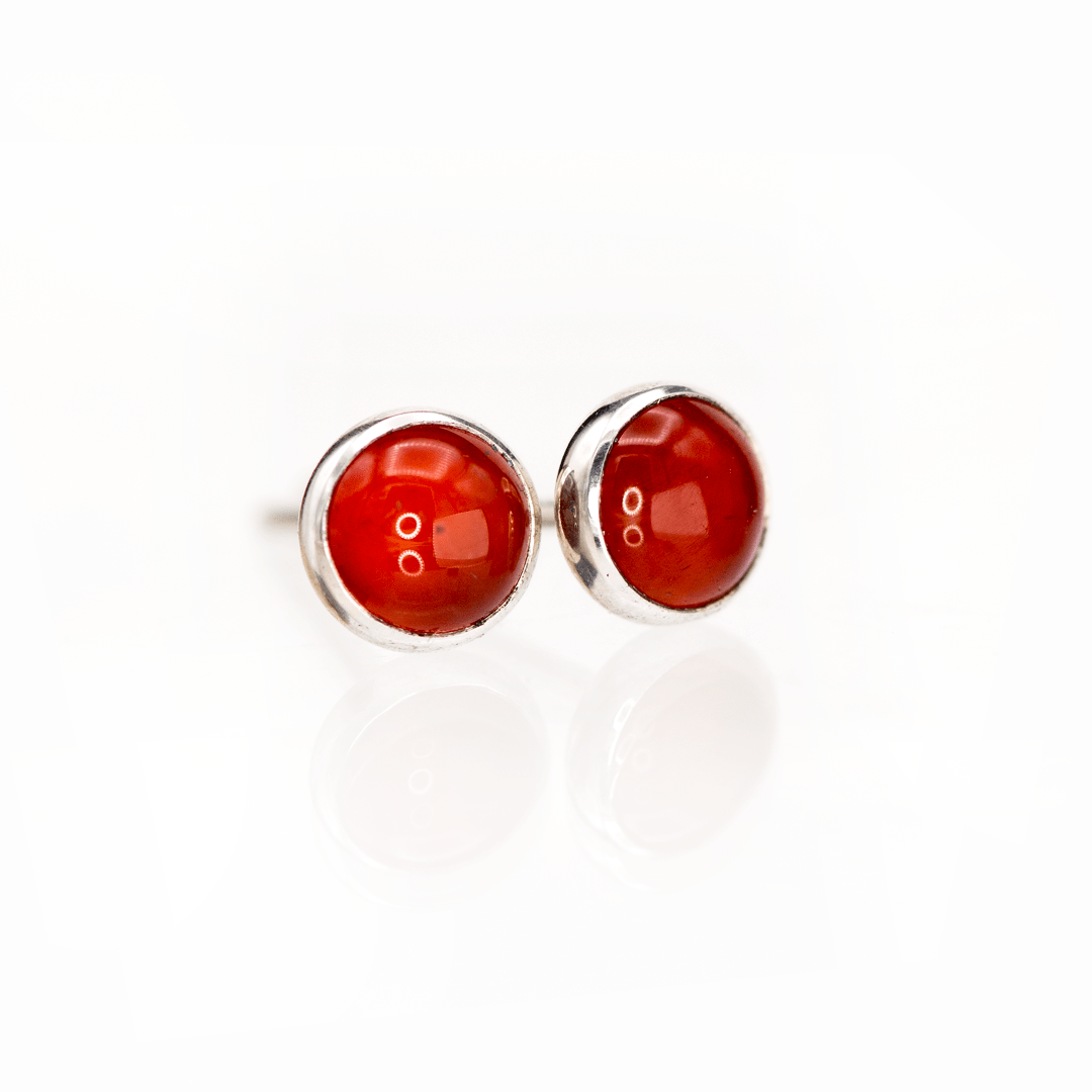 Carnelian Cabochon Stud Earrings in Sterling Silver, Ready to Ship