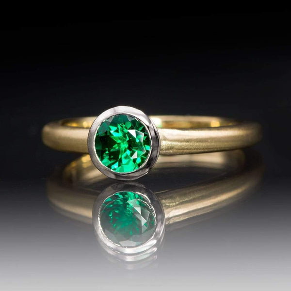 5mm Chatham Emerald Palladium and 14k Gold Mixed Metal Engagement Ring, Ready to size 4 - 7