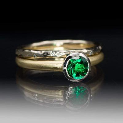 Chatham Emerald Palladium and 14k Gold Mixed Metal Solitaire Engagement Ring, Ready to size 4 - 7