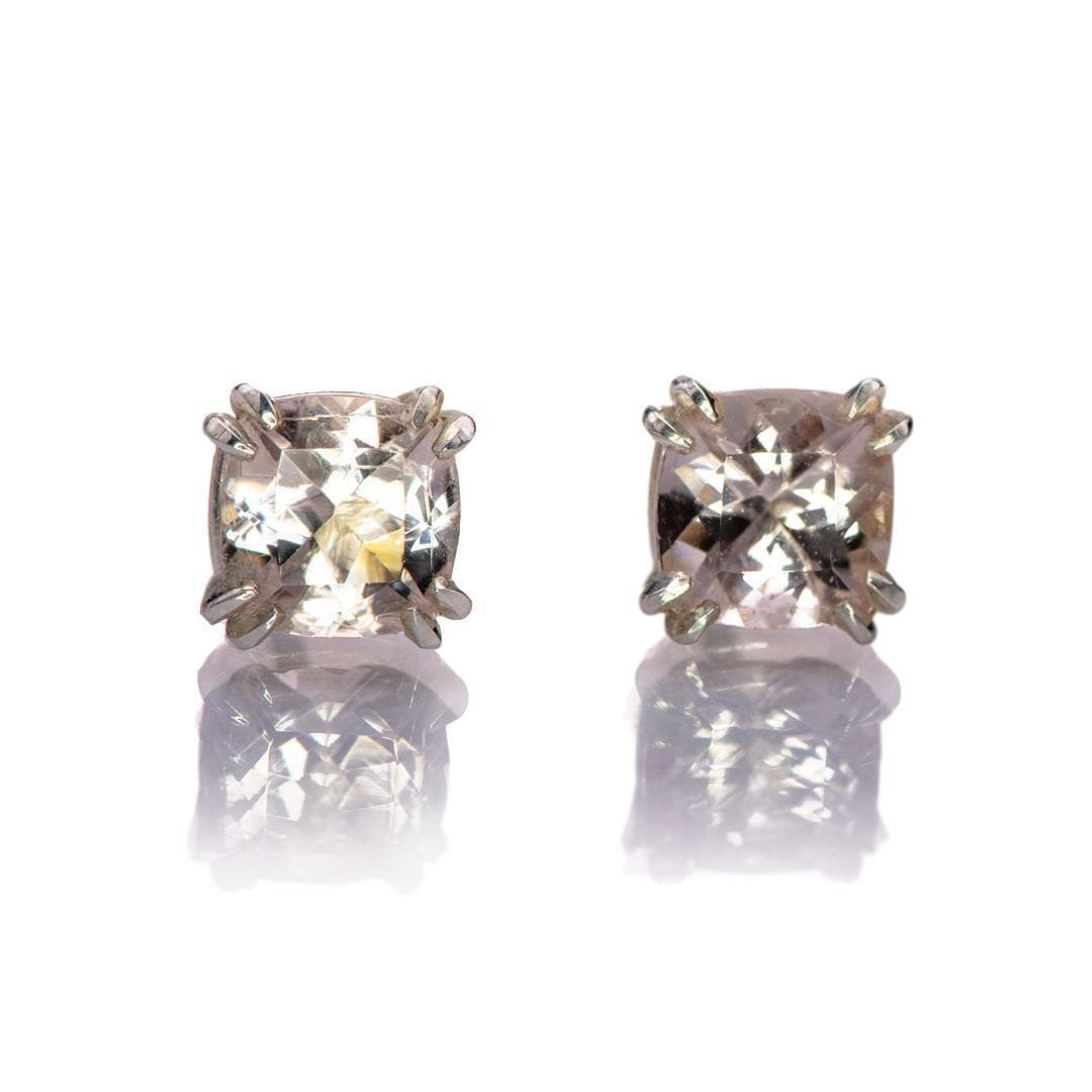 Cushion Cut Morganite Prong Set Sterling Silver Basket Stud Earrings, Ready to Ship