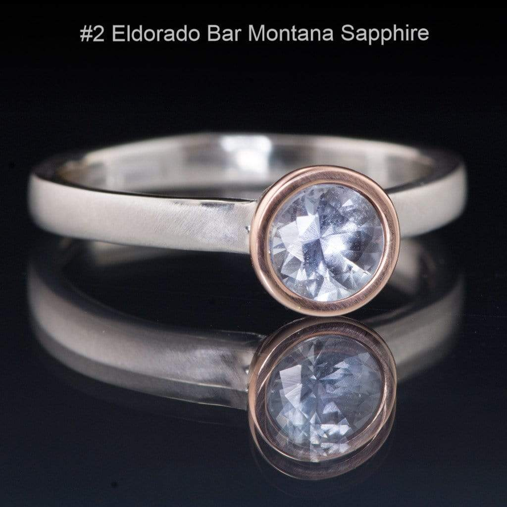 Blue to Green Eldorado Bar Montana Sapphire Mixed Metal Engagement Ring - by Nodeform
