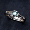 Cushion Fair Trade Teal Green Blue Sapphire Fold Solitaire Engagement Ring