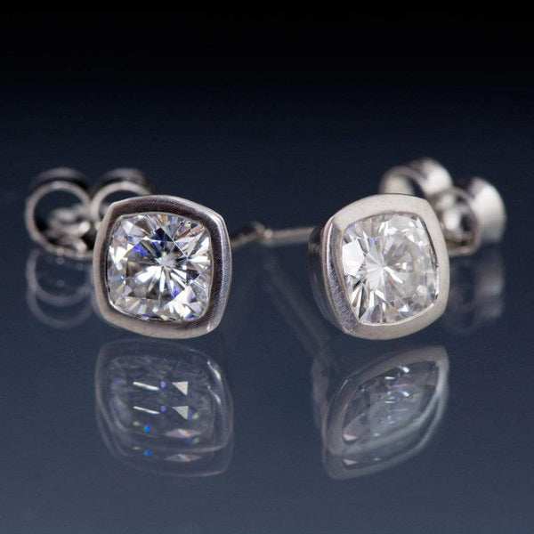 Cushion Moissanite Bezel Stud Earrings - by Nodeform