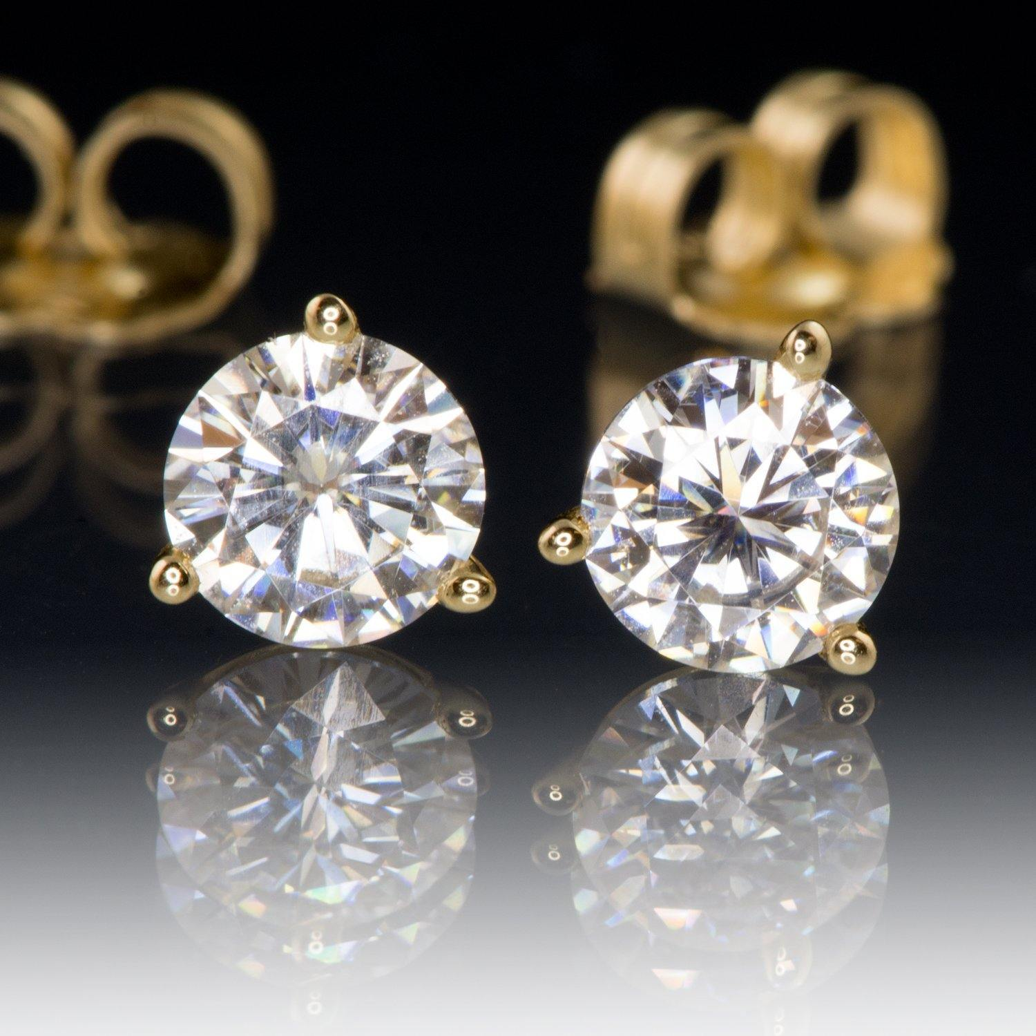 1CTW Forever Brilliant Moissanite Prong Stud Earrings in 14k Yellow Gold, Ready to Ship