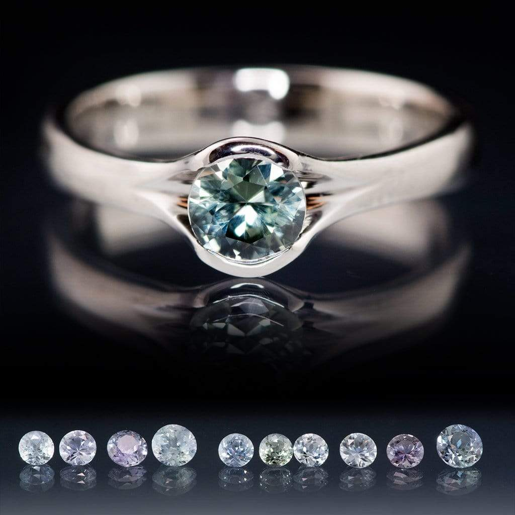 Blue to Green Eldorado Bar Montana Sapphire Fold  Solitaire Engagement Ring