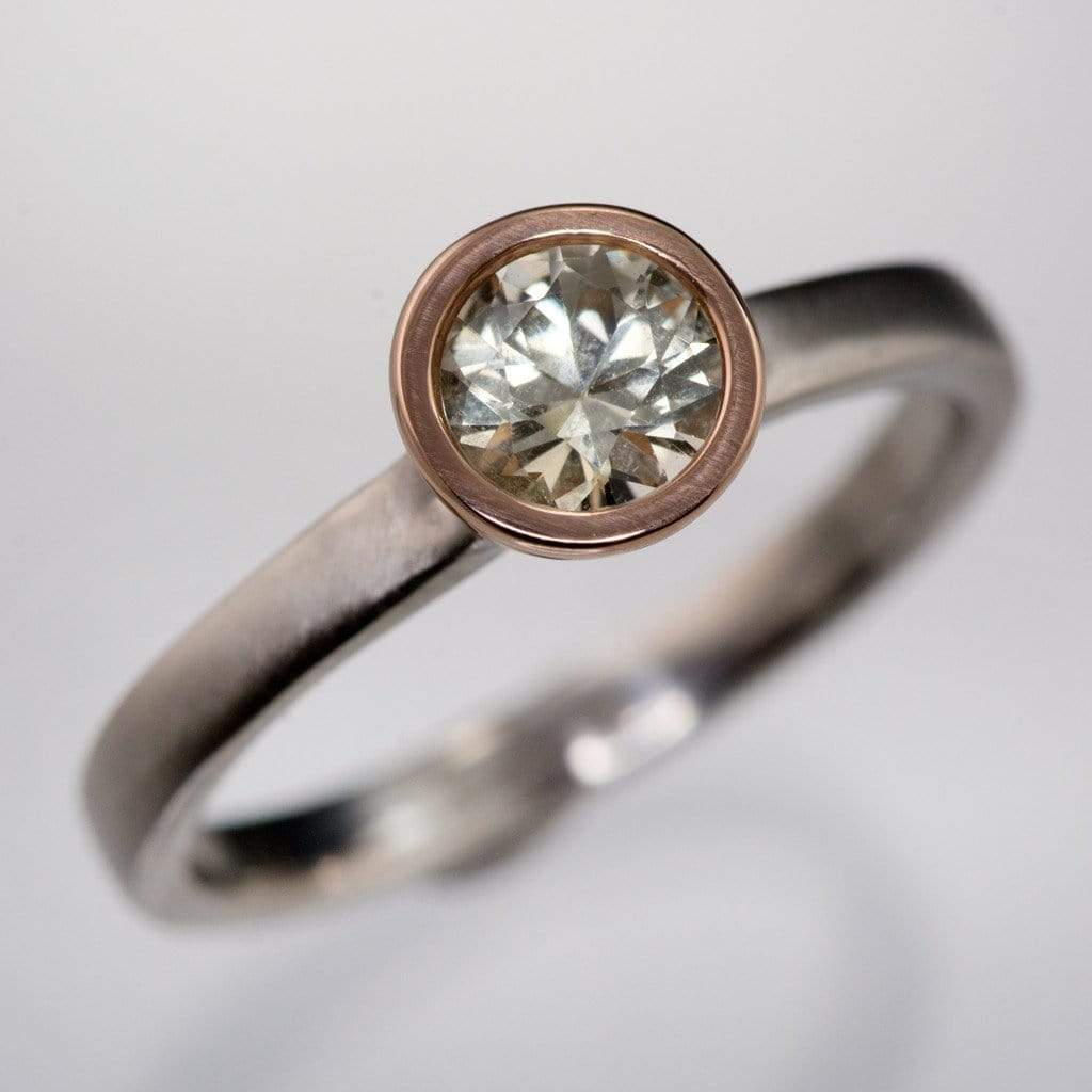 Mixed Metal Fair Trade Cream To Pastel Green Montana Sapphire  Engagement Ring