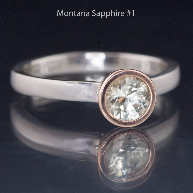Mixed Metal Fair Trade Cream to Pastel Green Montana Sapphire Solitaire Engagement Ring