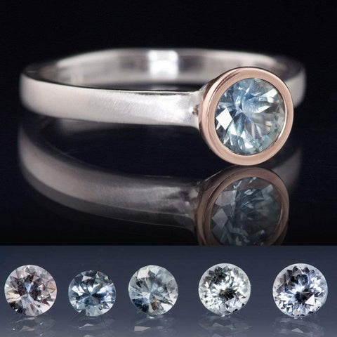 Pastel Light Blue Fair Trade Montana Sapphire Mixed Metal Engagement Ring