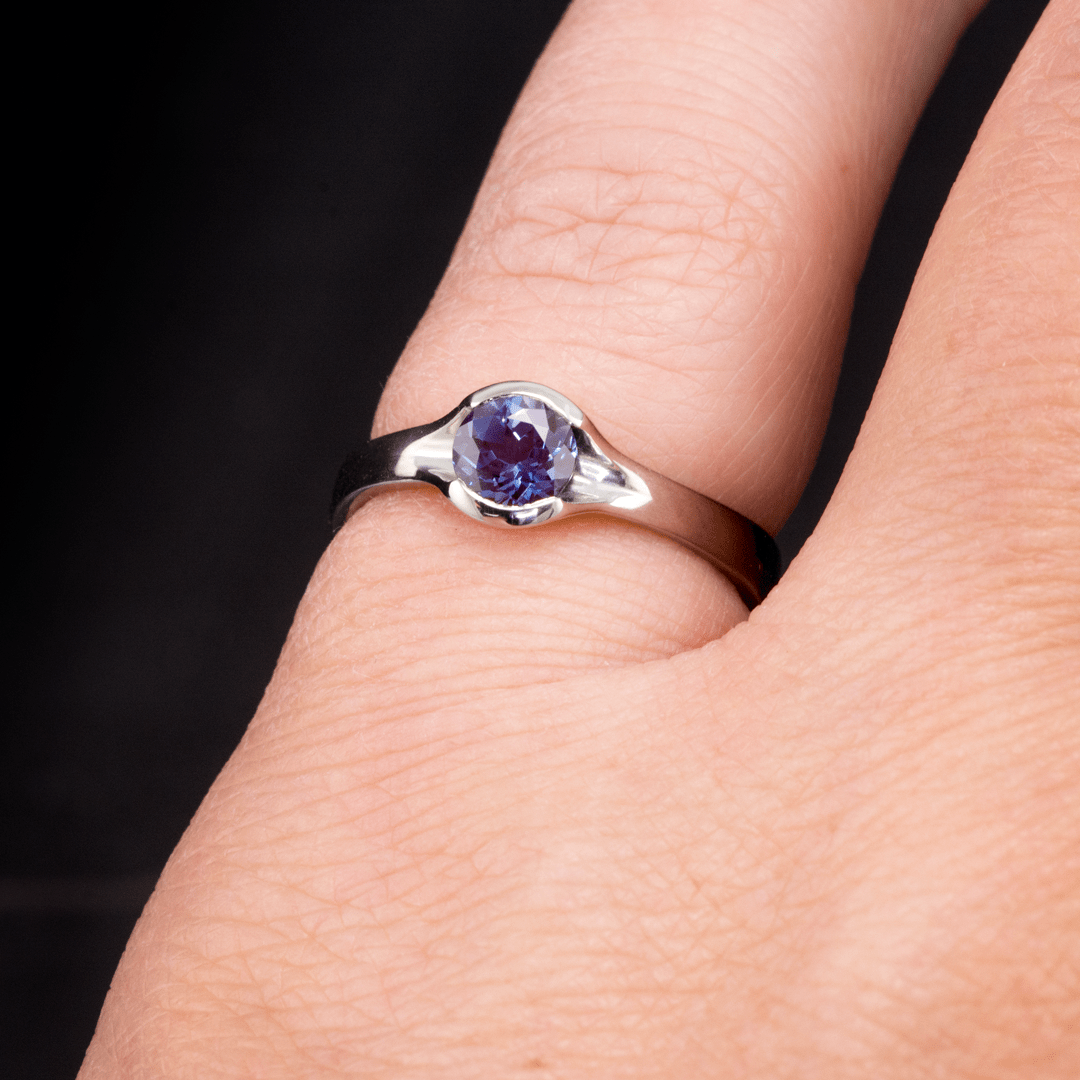 Chatham Alexandrite Round Fold Half Bezel Solitaire Engagement Ring