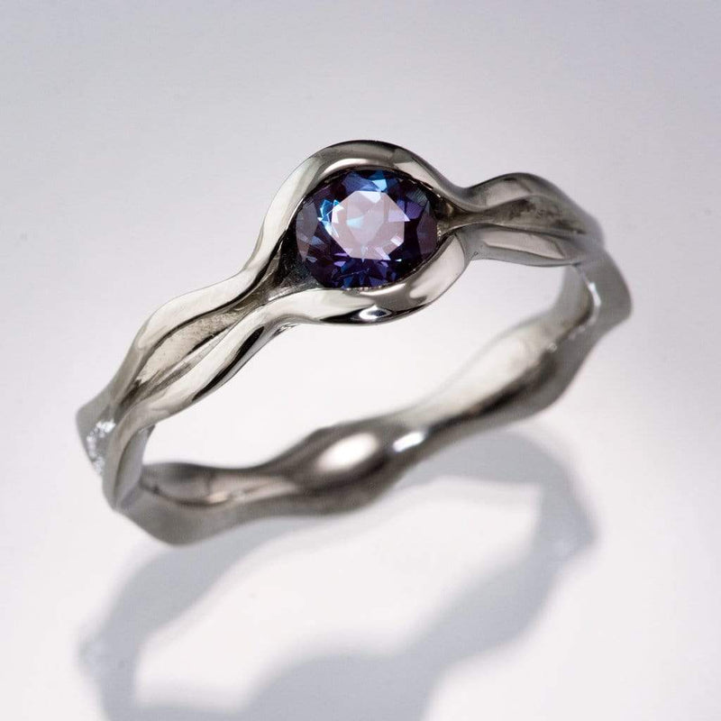 Wave Alexandrite Solitaire Engagement Ring