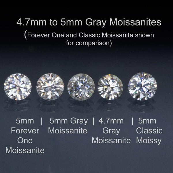 0.5ct gray moissanites brilliant cut round