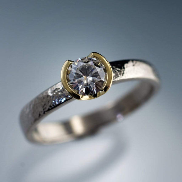 Custom Order Round 0.56ct Diamond 18kY Gold Bezel on textured Platinum Solitaire Engagement Ring - by Nodeform