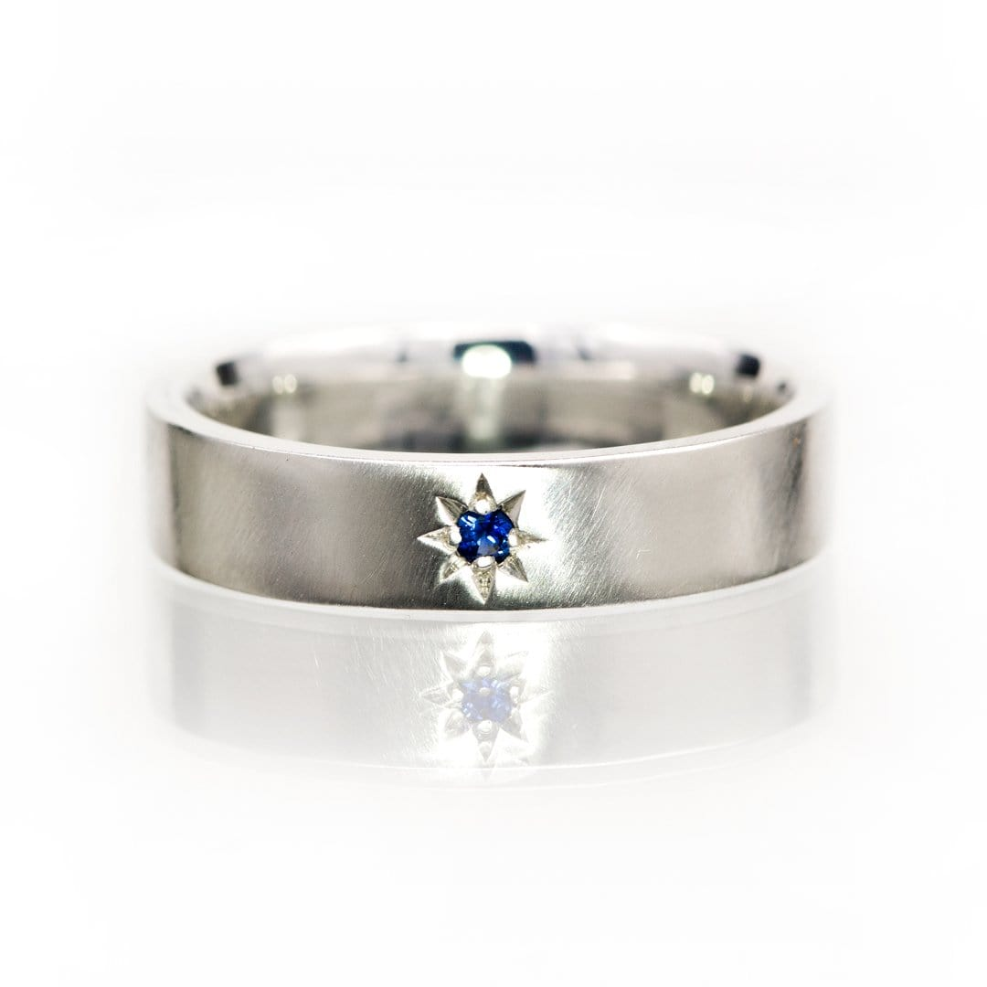 Flat Wedding Band with Star Set Blue Sapphire