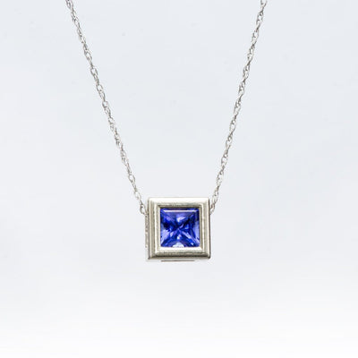 Princess Cut Tanzanite Square White Gold Slide Pendant Necklace, Ready to ship