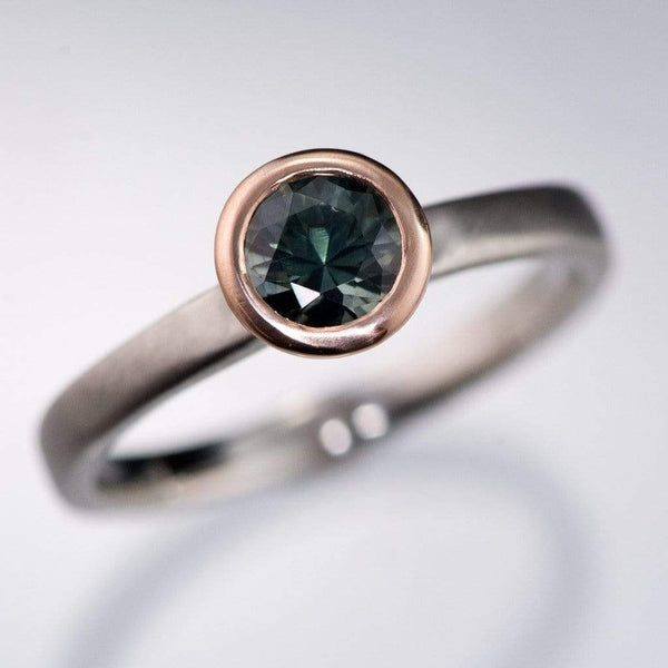Mixed Metal Fair Trade Green-Blue / Teal Montana Sapphire Engagement Ring