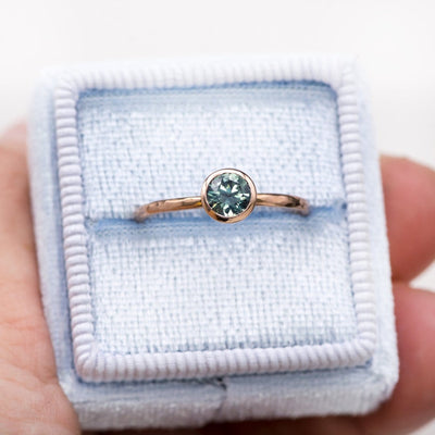 Teal Green/Blue Montana Sapphire Martini Bezel Skinny Hammer Textured Stacking Solitaire Ring, Ready To Ship, size 4-9