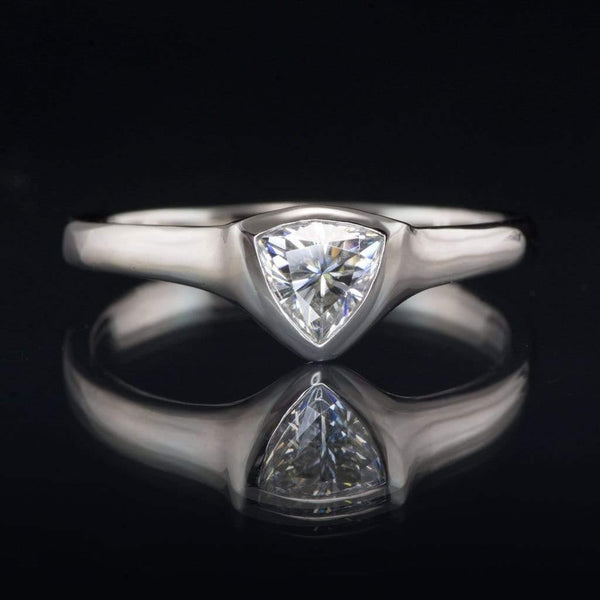 5mm Trillion Moissanite Shield Bezel Solitaire Palladium Engagement Ring, Ready to Size 4.5 to 8.5