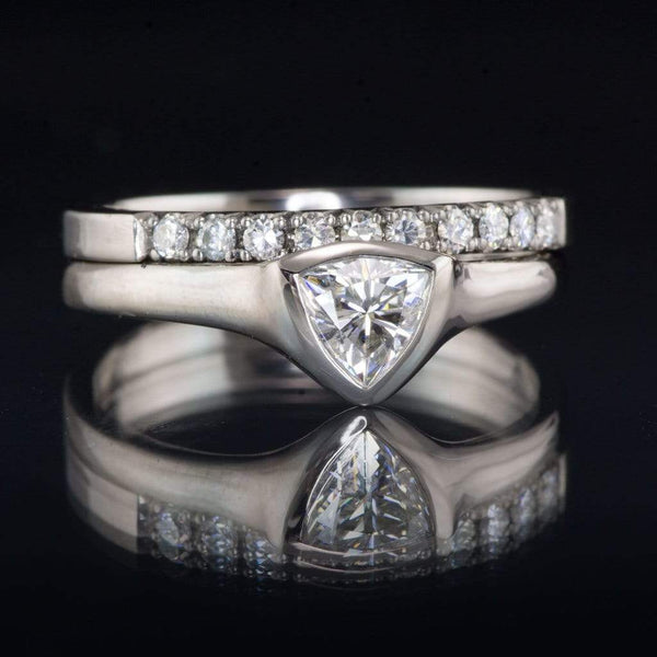Trillion Moissanite Shield Bezel Solitaire Engagement Ring