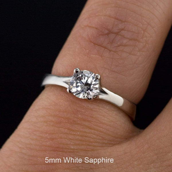 White Sapphire Classic Prong Solitaire Engagement Ring