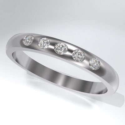 Narrow 5 Diamond Wedding Ring - by Nodeform