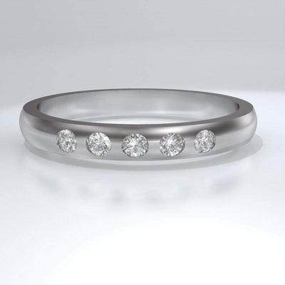 Narrow 5 Moissanite Wedding Ring