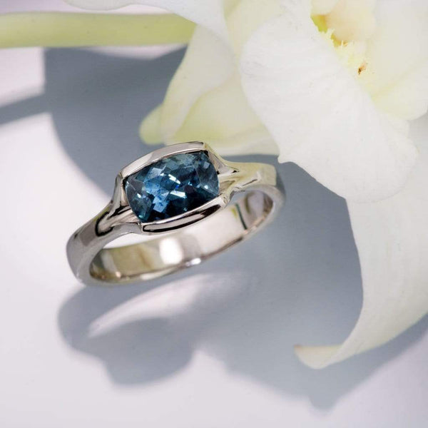 Cushion Fair Trade Teal Sapphire Fold Engagement Ring