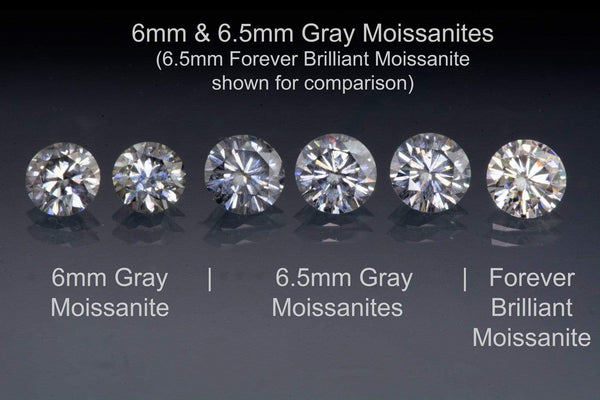 1ct gray moissanites brilliant cut round