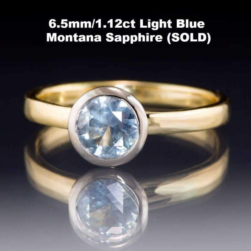 Pastel Blue to Green Eldorado Bar Montana Sapphire Mixed Metal Solitaire Engagement Ring