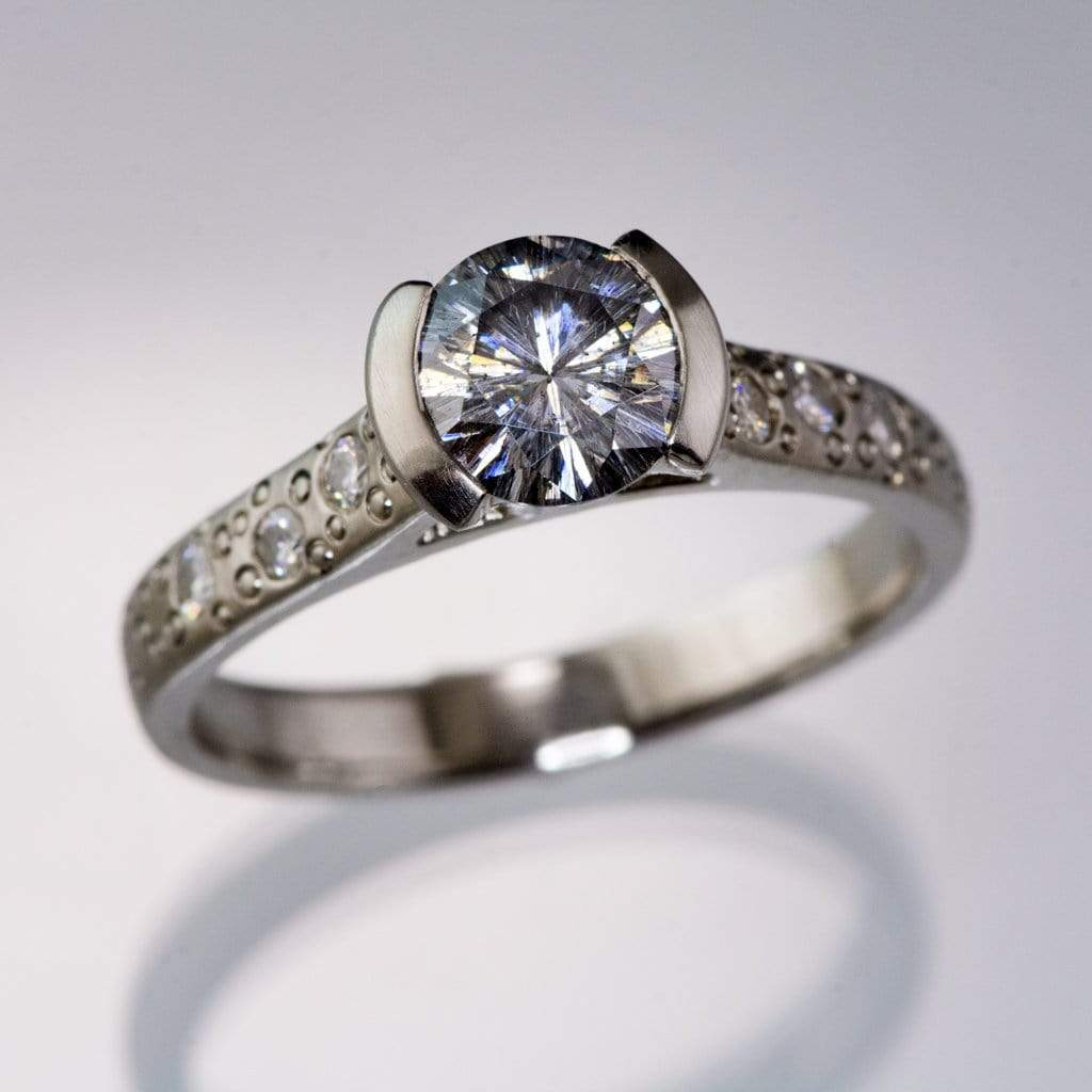 Gray Moissanite Round Half Bezel Star Dust Engagement Ring - by Nodeform