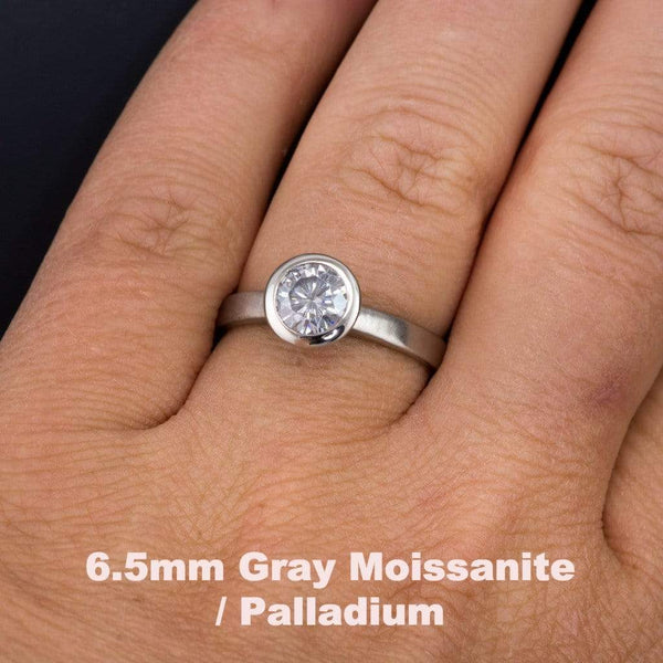 Round Gray Moissanite Peekaboo Bezel Solitaire Engagement Ring