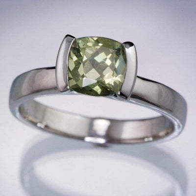 Large Green Fair Trade Montana Sapphire Half Bezel Engagement Ring - by Nodeform