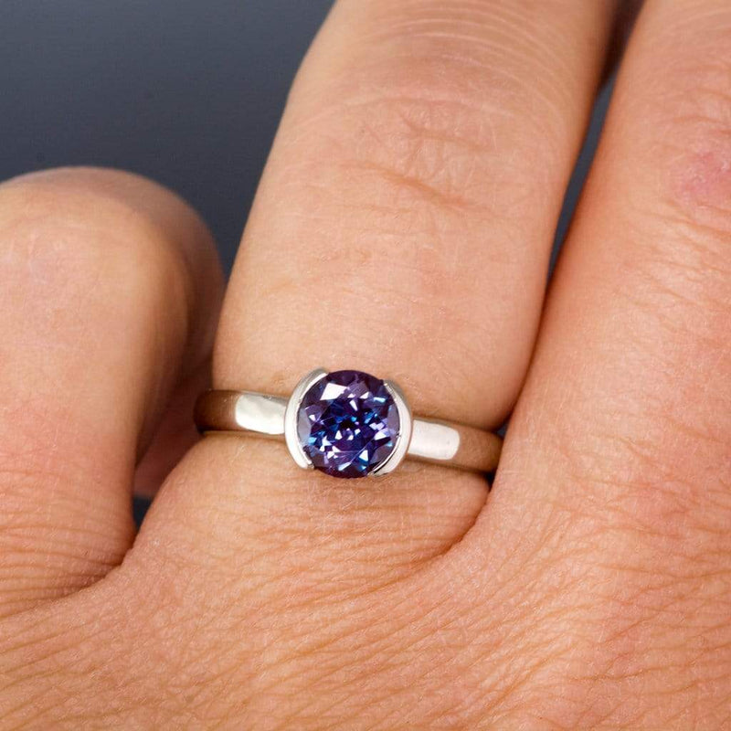 Chatham Alexandrite Half Bezel Solitaire Engagement Ring