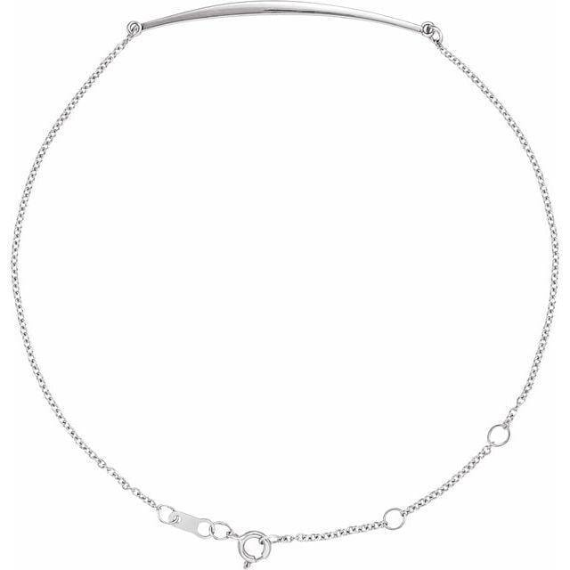 Simple Curved Bar Sterling Silver Chain Bracelet, Ready to Ship