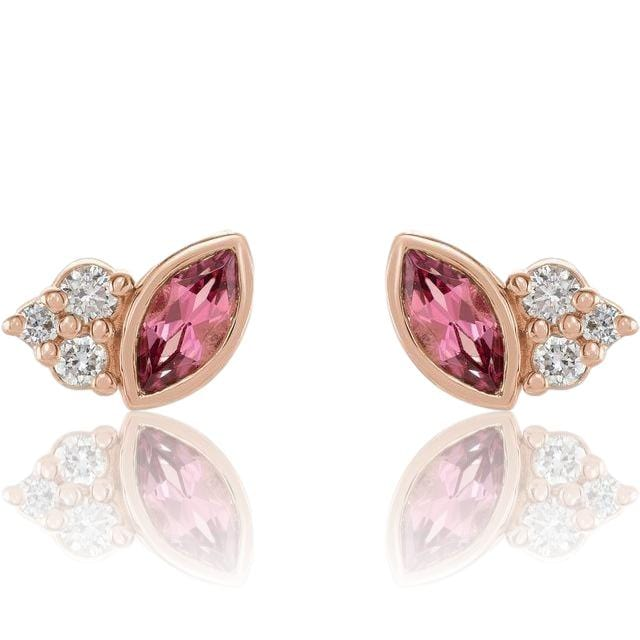 Marquise Pink Tourmaline & Diamond Cluster Gold or Platinum Leaf Stud Earrings