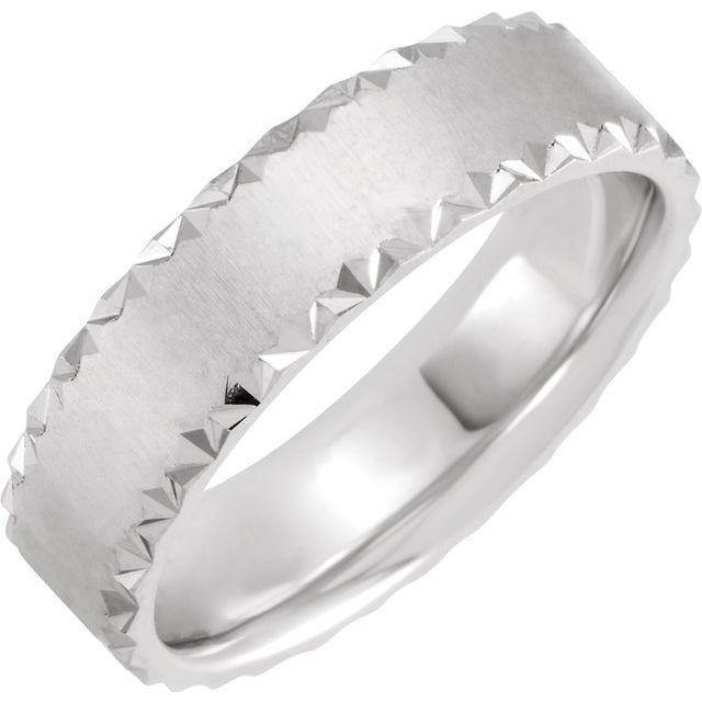 6mm Wide Scalloped Edge Flat Comfort-fit Men's Wedding Band