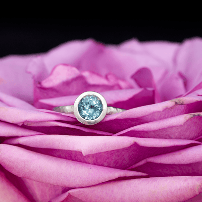 Fair Trade Teal Blue Malawi Sapphire Peekaboo Bezel Palladium Solitaire Engagement Ring, Ready to Ship