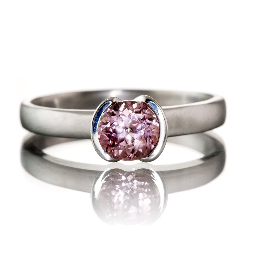 Chatham Champagne Pink Sapphire Round Half Bezel Solitaire Engagement Ring