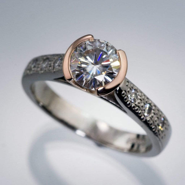 Moissanite Half Bezel Champagne Diamonds Star Dust Engagement Ring