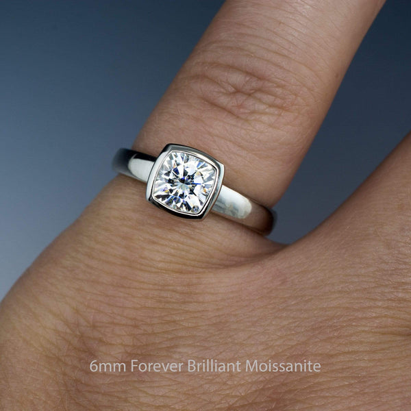 Cushion Moissanite Bezel Set Solitaire Engagement Ring - by Nodeform