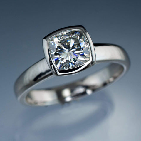 6mm cushion cut moissanite bezel set engagement ring