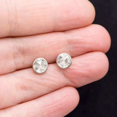 Rose Cut Moissanite Bezel Stud Palladium Earrings, Ready to Ship
