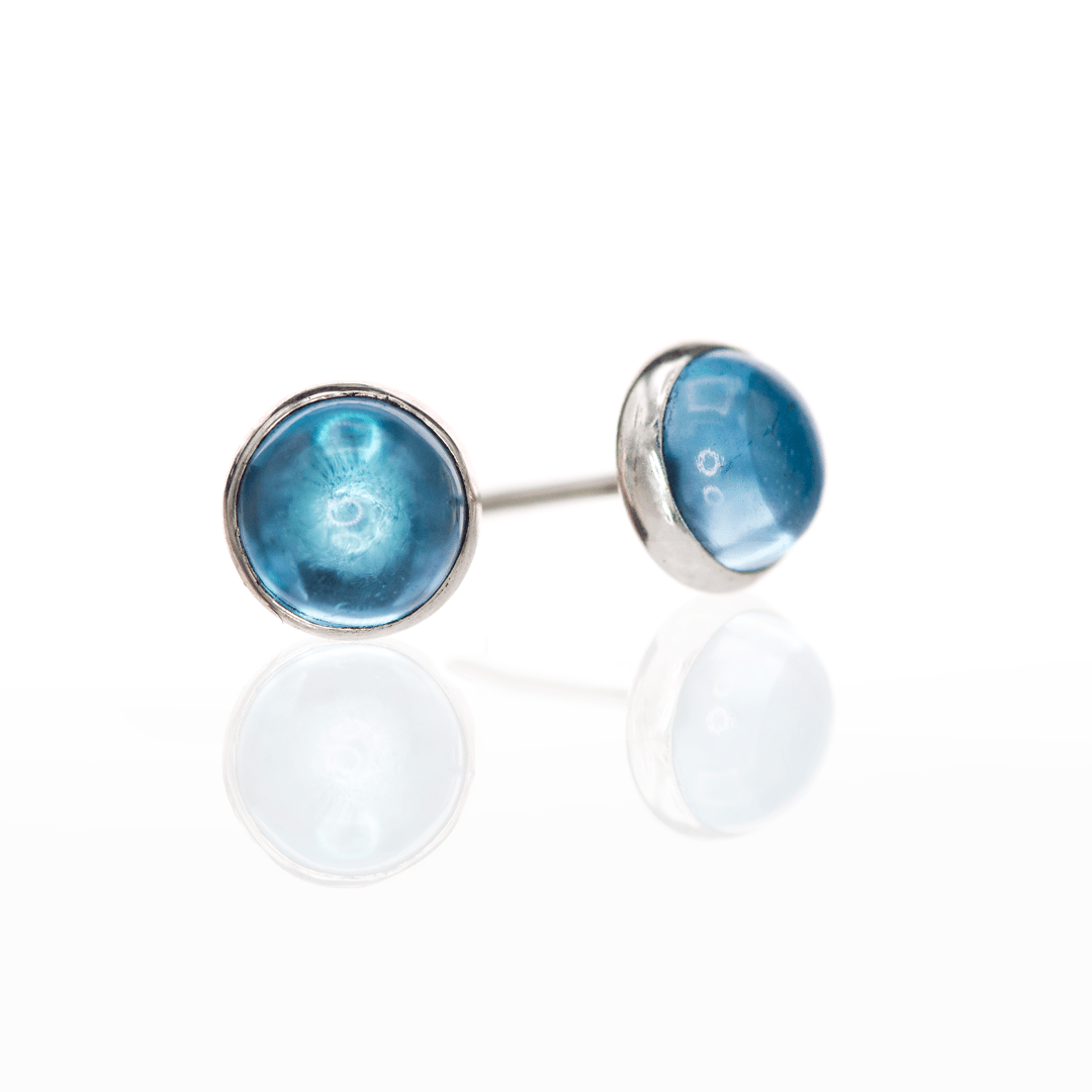 Large Blue Topaz Cabochon Stud Earrings in Sterling Silver, Ready to Ship