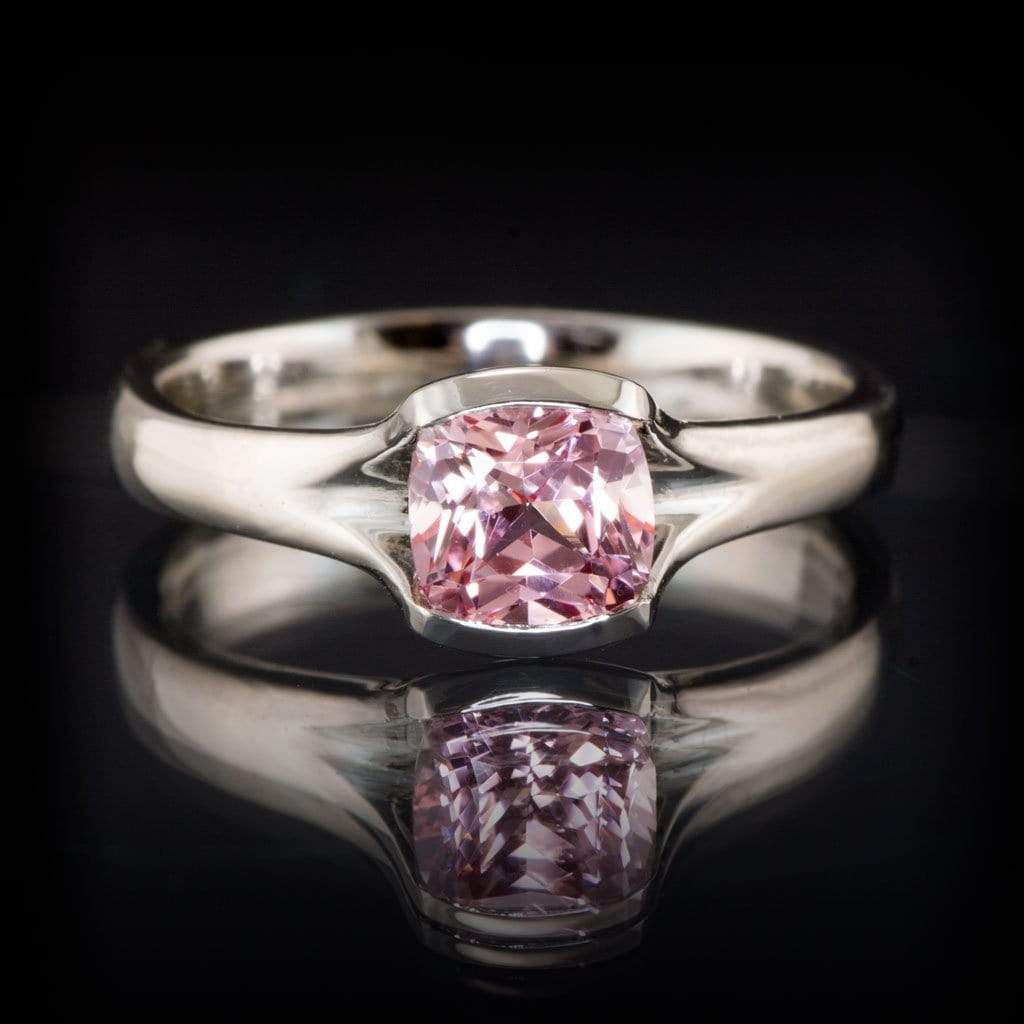 cushion cut chatham champagne pink sapphire fold solitaire engagement ring by nodeform