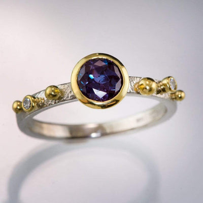 Engagement Ring Chatham Alexandrite & Diamonds in 18k Gold Accents
