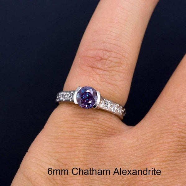 Alexandrite Half Bezel Diamond Star Dust Engagement Ring