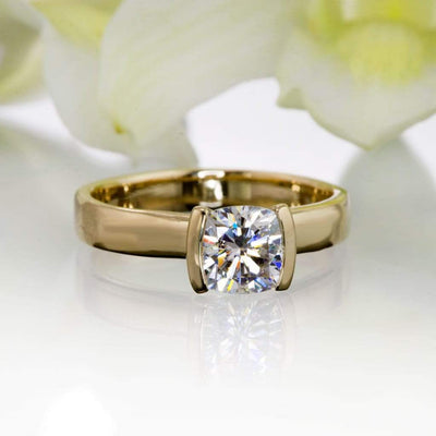 Cushion Moissanite Ring Modified Tension Solitaire Yellow Gold Engagement Ring - by Nodeform