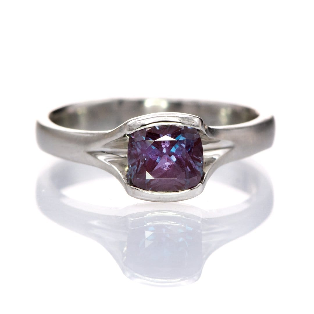 Cushion Cut Alexandrite Fold Solitaire Engagement Ring